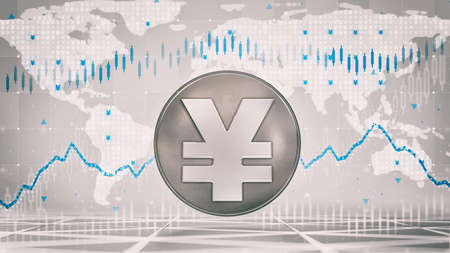 Silver Yuan or Yen coin with economic graph charts and business analysis on grey background. Business and economy 3D illustration.