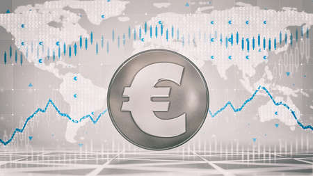Silver Euro coin with economic graph charts and business analysis on grey background. Business and economy 3D illustration. Фото со стока