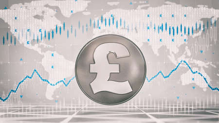 Silver Pound coin with economic graph charts and business analysis on grey background. Business and economy 3D illustration.