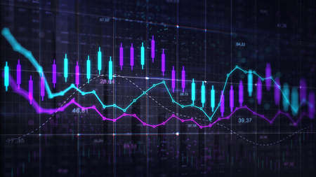 Stock market trading violet blue graph. Economy 3D illustration background. Trading trends and economic development. Фото со стока