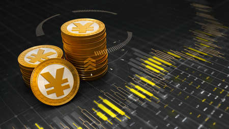 Group of golden Yuan coins placed on graph chart with digits and results of economic development. Economy 3D illustration background.