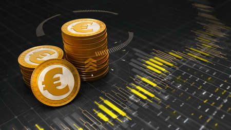Group of golden Euro coins placed on graph chart with digits and results of economic development. Economy 3D illustration background. Фото со стока