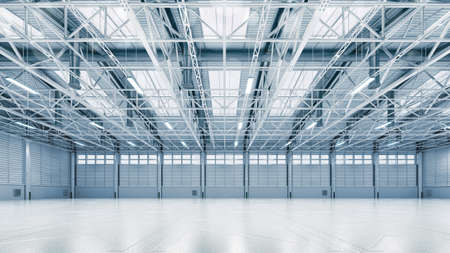 Steel construction factory building indoor general view as industrial 3D background copy space illustration. 写真素材