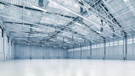 Steel construction factory building indoor angle view as industrial 3D background copy space illustration.