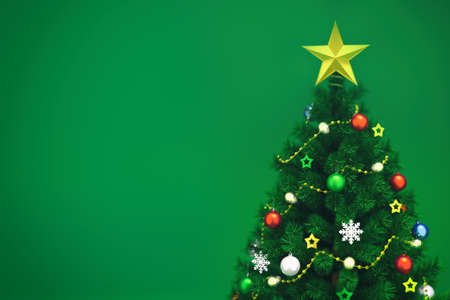 Decorated xmas tree isolated on green, top closeup view, christmas holiday 3D illustration background