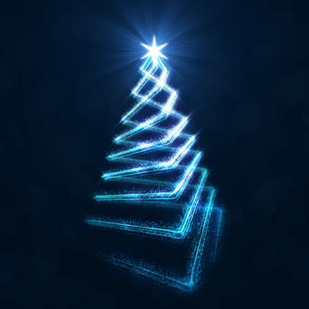 Abstract christmas tree pyramid line with glittering dust on dark background 3d digital illustration. Фото со стока