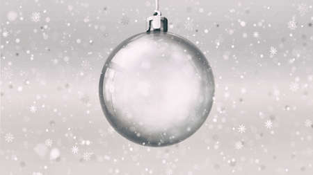 Isolated empty glass ball on bright background at snowfall, 3d illustration of isolated christmas holiday decoration