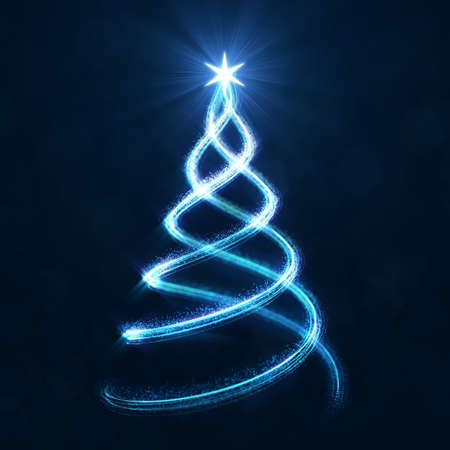 Abstract christmas tree spiral line with glittering dust on dark background 3d digital illustration Фото со стока