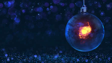 Magic glass orb sphere hanged as christmas classical decoration with burning flame inside. Dark blue 3d background illustration.