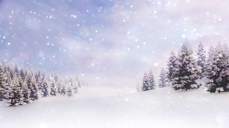 White open landscape with snow covered plain and forest at snowfall. Winter holiday 3D illustration background.