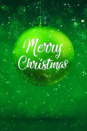 Green christmas ball decoration with title and glittering stars at snowfall. Digital seasonal 3D illustration.