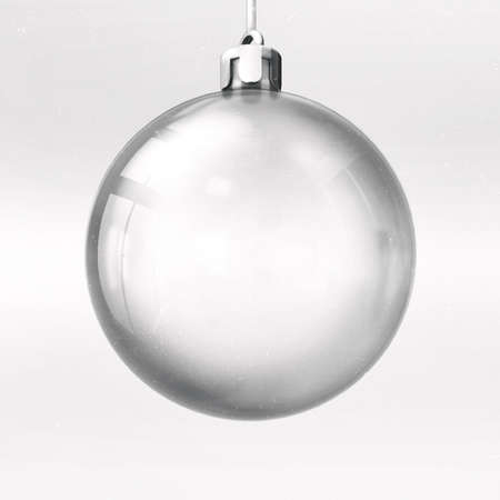 Isolated empty glass ball on bright silver background, 3d illustration of isolated christmas holiday decoration. Фото со стока