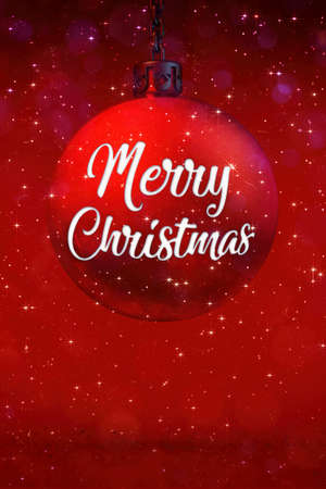 Red christmas ball decoration with title and glittering stars at snowfall. Digital seasonal 3D illustration. Фото со стока