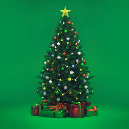 Decorated xmas tree isolated on green, general front view, christmas holiday 3D illustration background.