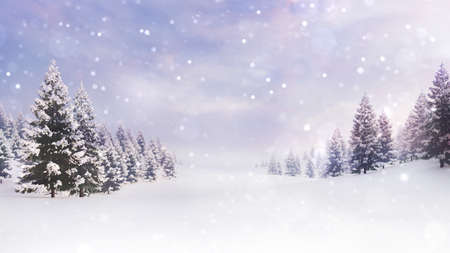 White open landscape with snow covered plain and forest at snowfall.