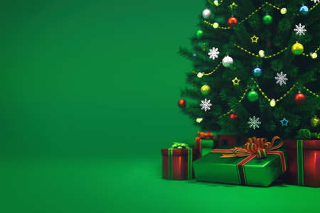 Decorated xmas tree isolated on green, bottom front view, christmas holiday 3D illustration background