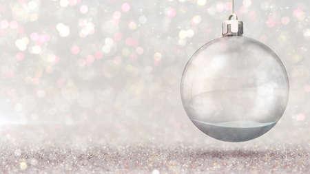 Magic snow ball hanged as christmas classical decoration on bright bokeh background Фото со стока