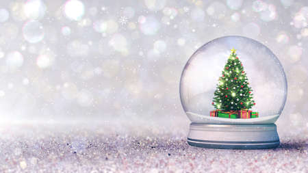 Magic snow globe with christmas tree inside as traditional decoration on light bokeh background. Bright digital 3D illustration.