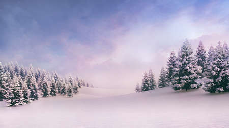 White spacious landscape with snow covered plain and forest at sunrise. Фото со стока