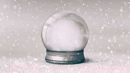 Isolated empty snowball on bright background at snowfall, 3d illustration of isolated christmas holiday decoration