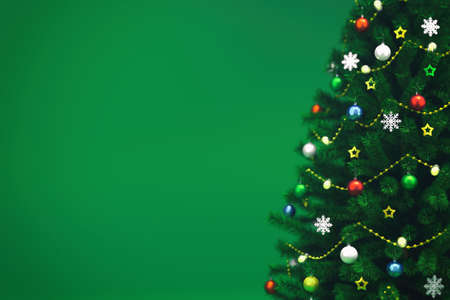 Decorated xmas tree isolated on green, right side closeup, christmas holiday 3D illustration background