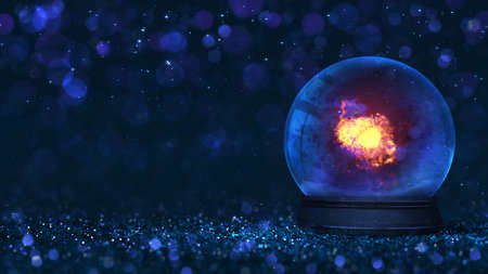 Magic glass orb as christmas classical decoration with burning flame inside. Dark blue 3d background illustration.