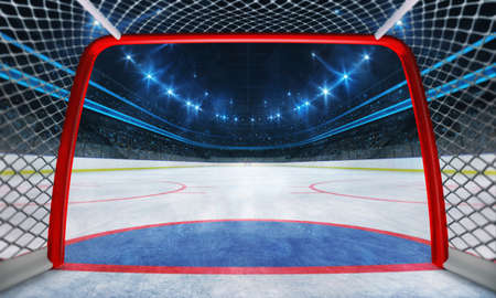Ice hockey playground and illuminated indoor arena with fans, goal inside view, professional ice hockey sport 3D render.