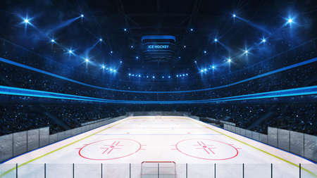 Grand ice hockey rink and illuminated indoor arena with fans, tribune view, professional ice hockey sport 3D render.