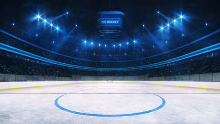 Ice hockey rink and illuminated indoor arena with fans, middle circle view, professional ice hockey sport 3D render.
