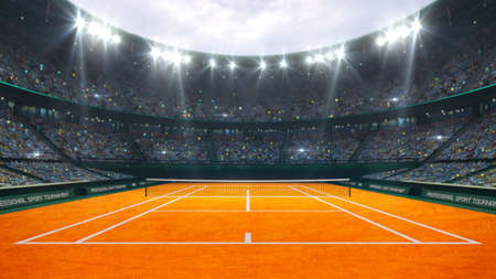 Orange clay tennis court and illuminated outdoor arena with fans, upper front view, professional tennis sport 3d illustration background.