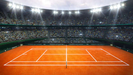Orange clay tennis court and illuminated outdoor arena with fans, upper side view, professional tennis sport 3d illustration background.