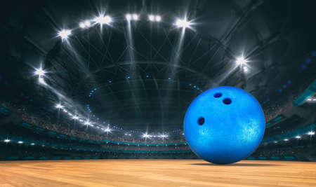 Magnificent bowling arena with a bowling ball on a wooden floor with spectators in the grandstand. Professional world sport 3D illustration background. Banco de Imagens