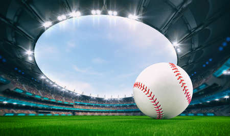 Magnificent outdoor stadium with a baseball ball on the green lawn of the field with spectators on the stands. Professional world sport 3D illustration background.