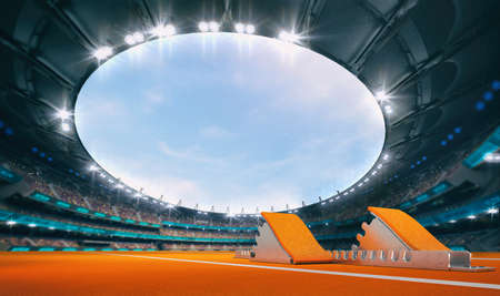 Magnificent athletic stadium with a start block on an orange tartan with spectators on the stands. Professional world sport 3D illustration background.