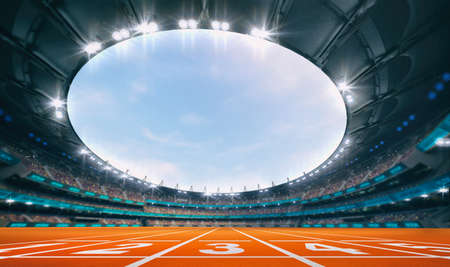 Magnificent athletic stadium with a starting line on an orange tartan with spectators on the stands. Professional world sport 3D illustration background.