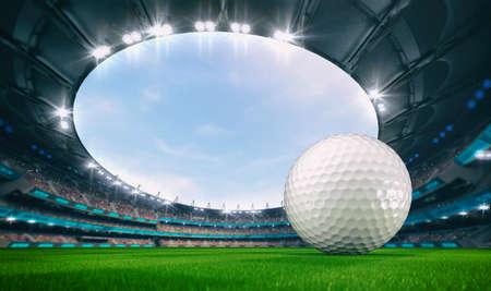 Magnificent outdoor stadium with a golf ball on the green lawn of the field with spectators on the stands. Professional world sport 3D illustration background.