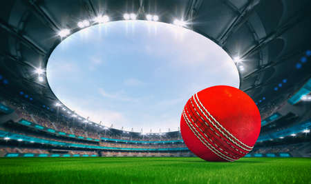 Magnificent outdoor stadium with a cricket ball on the green lawn of the field with spectators on the stands. Professional world sport 3D illustration background. Banco de Imagens