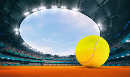 Magnificent outdoor tennis arena with a tennis ball on orange clay with spectators on the grandstand. Professional world sport 3D illustration background.