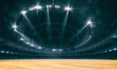 Stadium and wooden surface background for indoor sports. Sport building as digital 3D background advertisement backdrop illustration.