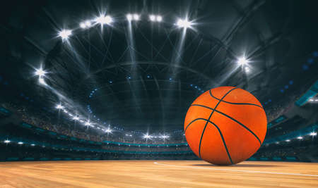 Magnificent basketball arena with a basketball on a wooden floor with spectators on the grandstand. Professional world sport 3D illustration background.