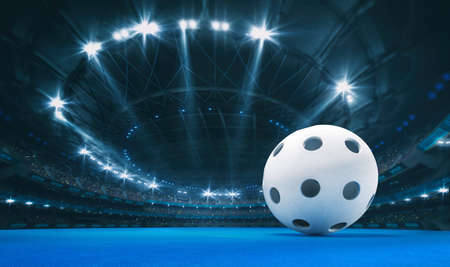 Magnificent floorball arena with a floorball ball on a blue artificial floor with spectators on the grandstand. Professional world sport 3D illustration background.