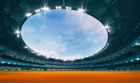 Stadium and orange artificial surface background as athletic running track. Sport building as digital 3D background advertisement backdrop illustration.