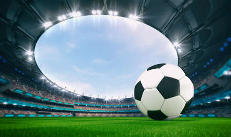 Magnificent outdoor stadium with a football ball on the green lawn of the field with spectators on the stands. Professional world sport 3D illustration background. Banco de Imagens