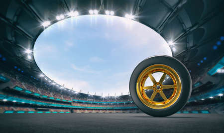 Magnificent racing circuit with a car tire on gray asphalt with spectators in the stands. Professional world sport 3D illustration background.