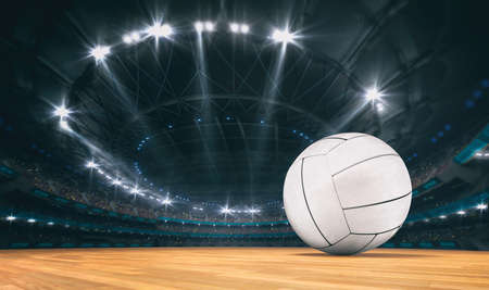 Magnificent volleyball arena with a volleyball ball on a wooden floor with spectators in the grandstand. Professional world sport 3D illustration background. Banco de Imagens