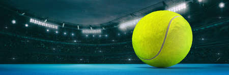 Sport stadium with tennis ball at night as wide backdrop. Digital 3D illustration for background advertisement.