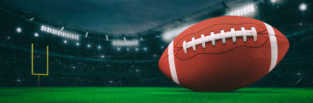 Sport stadium with american football ball at night as wide backdrop. Digital 3D illustration for background advertisement.