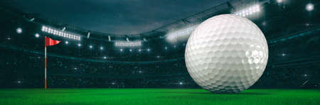 Sport stadium with golf ball at night as wide backdrop. Digital 3D illustration for background advertisement.