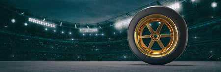 Sport stadium with race tyre at night as wide backdrop. Digital 3D illustration for background advertisement.