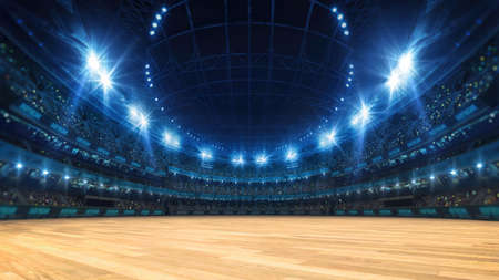 Sport stadium with grandstands full of fans, shining night lights and wooden deck. Digital 3D illustration of sport stadium for background use.